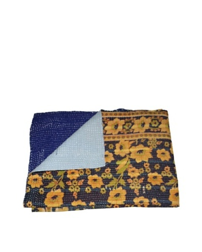 "Large Vintage Preeti Kantha Throw, Multi, 60"" x 90"""
