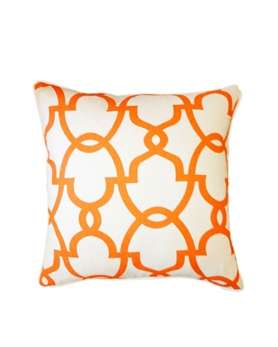 Dean Throw Pillow, Cream/Orange