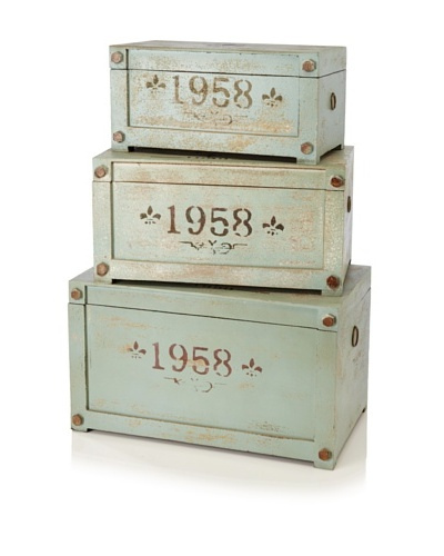 "Set of 3 Multi Size Wooden ""1958"" Trunks"