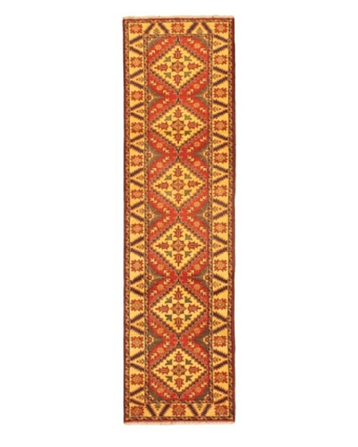 Hand-knotted Uzbek Kargahi Traditional Runner Wool Rug, Brown, 2' 1 x 10' 5 Runner