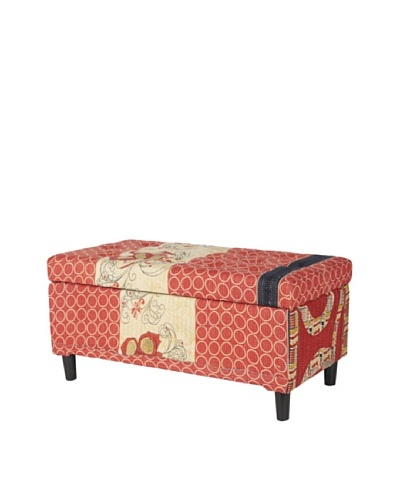 One of a Kind Kantha Storage Bench, Red Multi