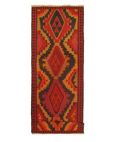 Hand woven Kashkoli Kilim Transitional Runner Wool Kilim, Beige/Navy, 14' 3 x 4' 1 Runner