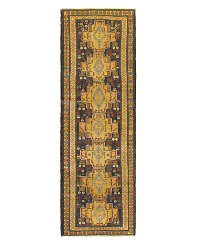 Hand-knotted Rizbaft Traditional Runner Wool Rug, Blue, 3' x 9' 4 Runner