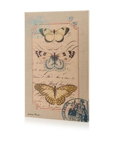 Kathryn White 3 Butterflies Giclee on Cork Board
