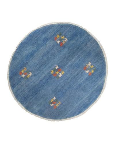 Hand-Knotted Gabbeh Modern Round Wool Rug, Blue, 6' 4 Round