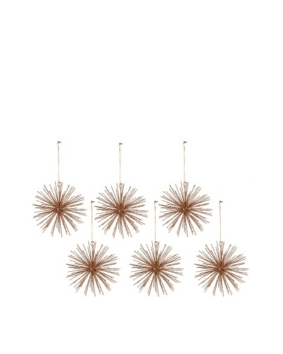 Set of 6 Starburst Wire Ball Ornaments
