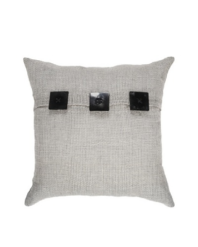 Hessian Linen Lounge Pillow, Black/Taupe, 21 x 21