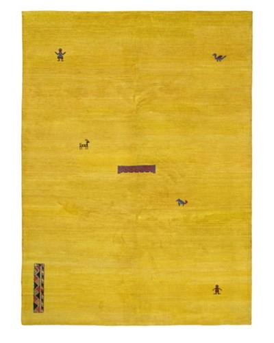 "Hand-Knotted Indian Gabbeh Wool Rug, Yellow, 8' 3"" x 11' 4"""