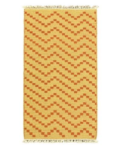Hand Woven Natural Plush Kilim, Dark Copper, 2' x 3' 6 Runner