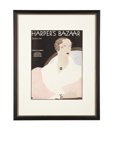 "Original Harper's Bazaar cover dated 1932. by Benigni. 16:X20"" framedAs You See"
