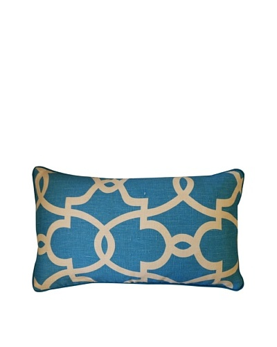 Dean Throw Pillow, Turquoise/Cream
