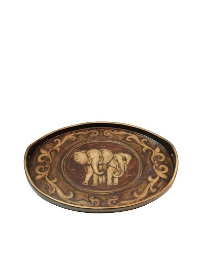 Elephants Tray, Walnut/Creme