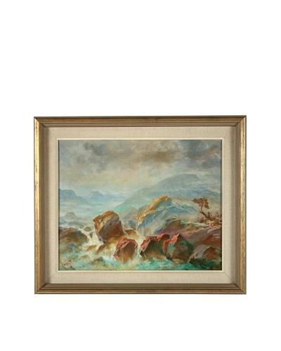 L. Weng Waves Crashing Framed Artwork