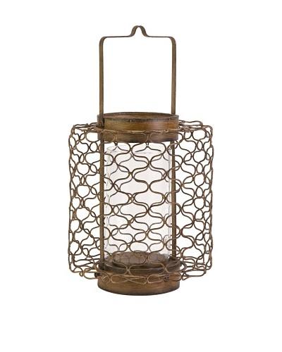 Escate Small Wire Lantern with Glass Hurricane