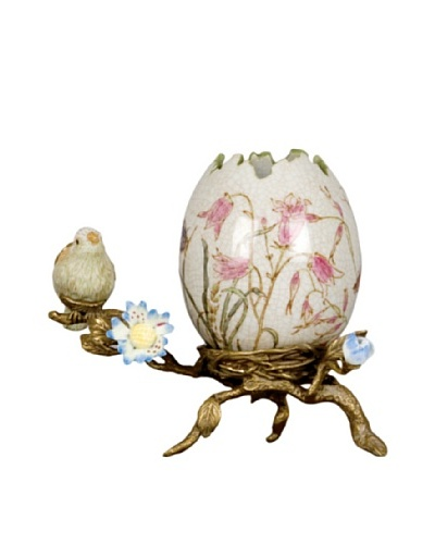 Handpainted Porcelain Egg Shell with Bronze Base