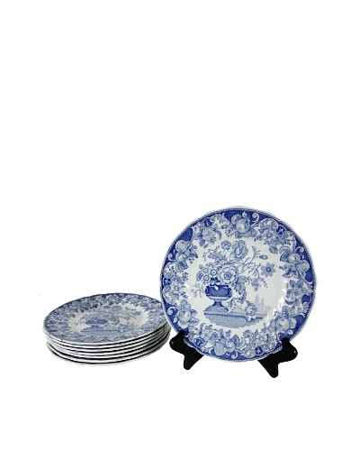 Set of 8 Blue Pomeroy Salad Plates, Blue/White