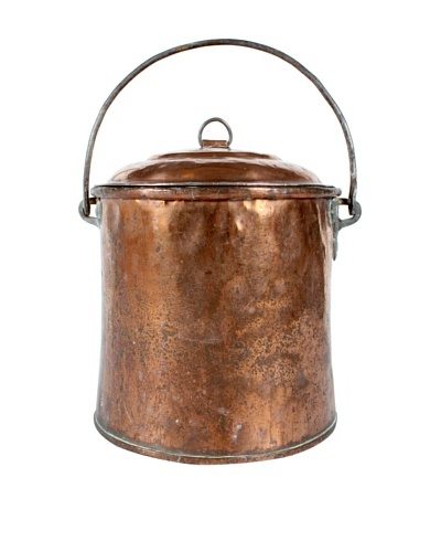 Belgium Copper Pot with Lid, Metallic
