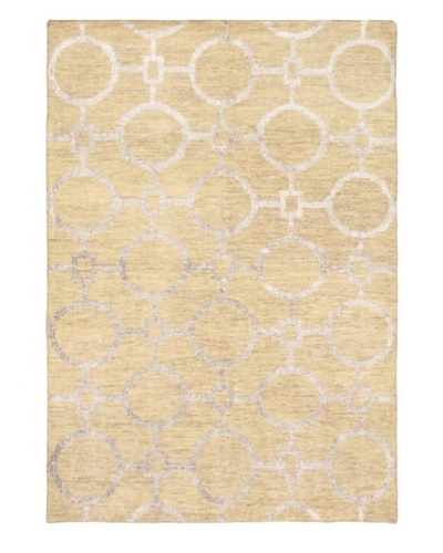 Hand-Knotted Mystique Gabbeh Modern Rug, Light Gold, 5' 2 x 7' 5