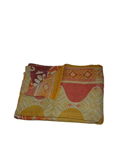 Large Vintage Parul Kantha Throw, Multi, 60 x 90