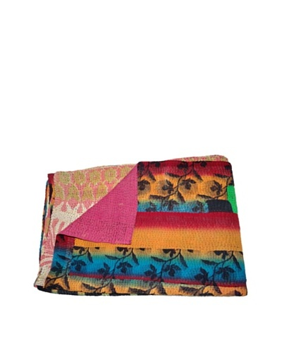 Large Vintage Preeti Kantha Throw, Multi, 60 x 90As You See