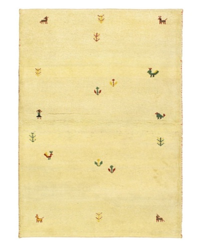 Hand-Knotted Indian Gabbeh Wool Rug, Beige, 4' 2 x 5' 1