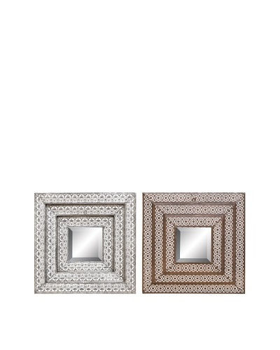 UMA Set of 2 Assorted Metal Wall MirrorsAs You See