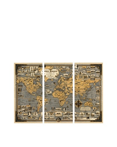 Oliver Gal World Wonders 1939 Map Triptych Canvas Art