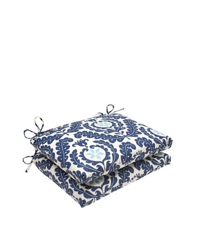 Waverly Sun-n-Shade Set of 2 Meridian Pool Seat Cushions [Navy/Aqua/Cream]