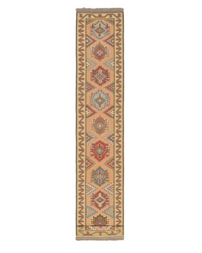 Hand woven Kashkoli Kilim Traditional Runner Wool Kilim, Copper/Light Gold, 2' 5 x 13' 4 Runner