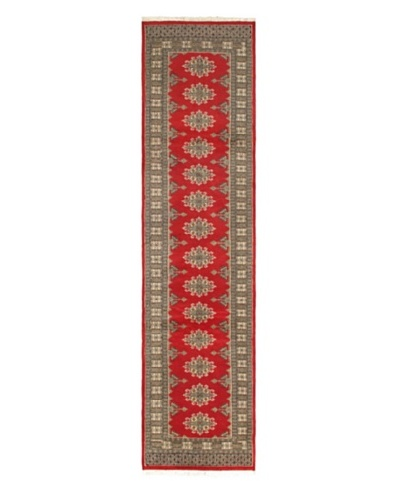 Hand-knotted Peshawar Bokhara Traditional Runner Wool Rug, Red, 2' 6 x 10' Runner
