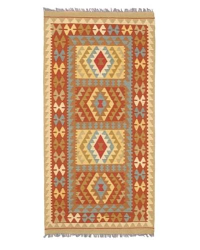 "Hand Woven Izmir Kilim Dark Wool Kilim, Dark Copper, 3' 5"" x 6' 11"""