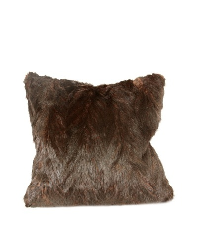 Upcycled Mink Pillow, Brown, 18 x 18