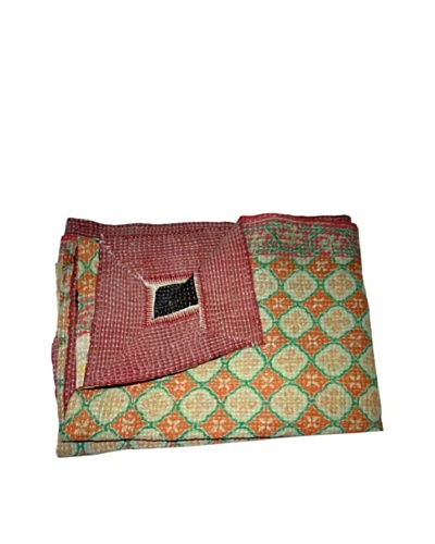 Large Vintage Hema Kantha Throw, Multi, 60 x 90
