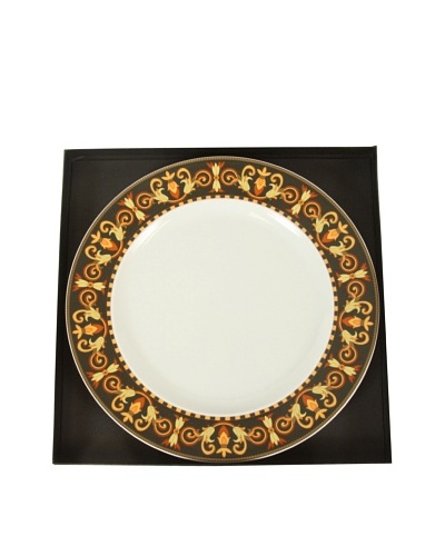 Versace By Rosenthal Barocco 9 Plate, Black/Yellow/White/Orange