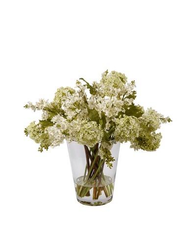 Lilacs in Glass Vase, White