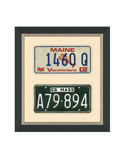 Framed Vintage Maine & Massachusetts License Plates
