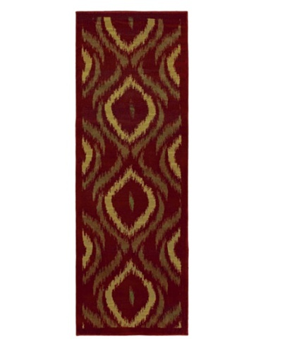 "Ikat Modern Rug, Red, 2' 8"" x 7' 8"" Runner"