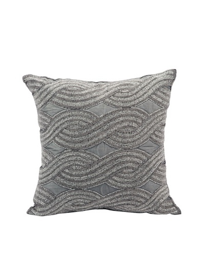 "Joseph Abboud Braid Pillow, Silver Grey, 16"" x 16"""