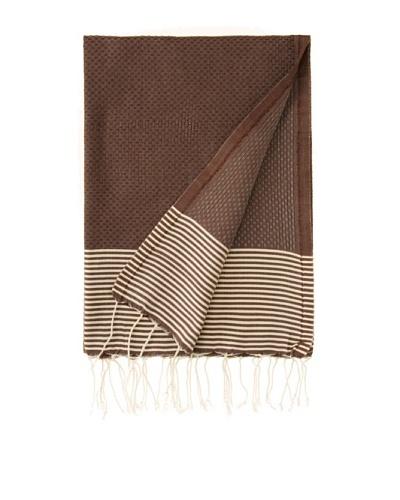 Honeystriped Fouta Towel, Aubergine, 39 x 79