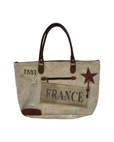 Gigi Recycled Canvas Bag, Tan/Brown/Red/Blue