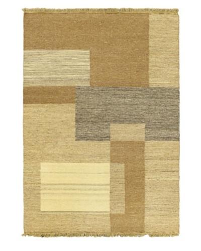Handwoven Natural Flatweave Rug, Khaki, 4' 5 x 6' 5