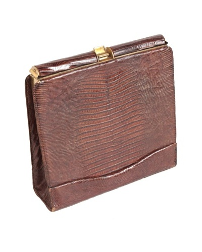 Lizard Clutch Purse, Brown/Gold