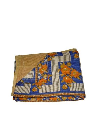 Large Vintage Kantha Throw Gowri, Multi, 60 x 90