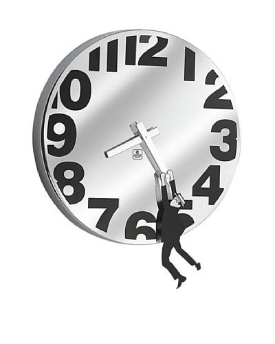 "Metal Wall Clock with Man Hanging, 12"""
