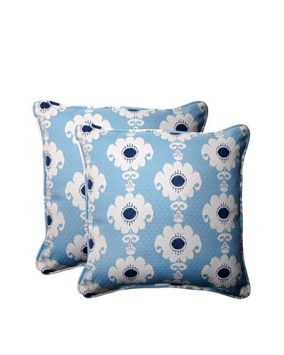 Set of 2 Outdoor Rise-n-Shine Pool Square Corded Toss Pillows [Navy/Aqua/Cream]