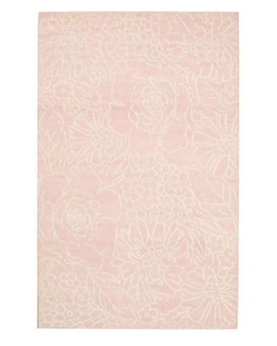 Handmade Amelia Rug, Cream/Light Pink, 5' x 8'