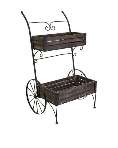 Fairbanks Wood Planter Cart on Wheels