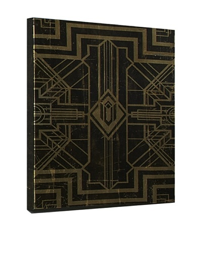 Geometric Canvas with Gold Leaf Detail, Black/Gold, 28 x 28