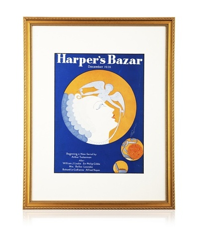 "Original Harper's Bazaar cover dated 1928. by Erte. 16""X20"" framed"