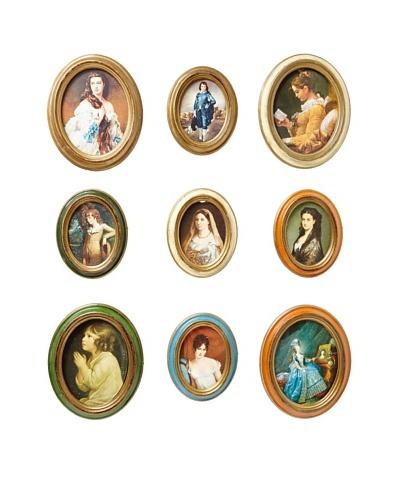Set of 9 Vintage Italian Picture Frames, Multi